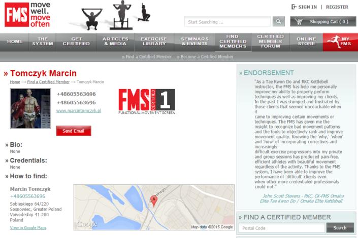 Certified Member FMS Tomczyk Marcin