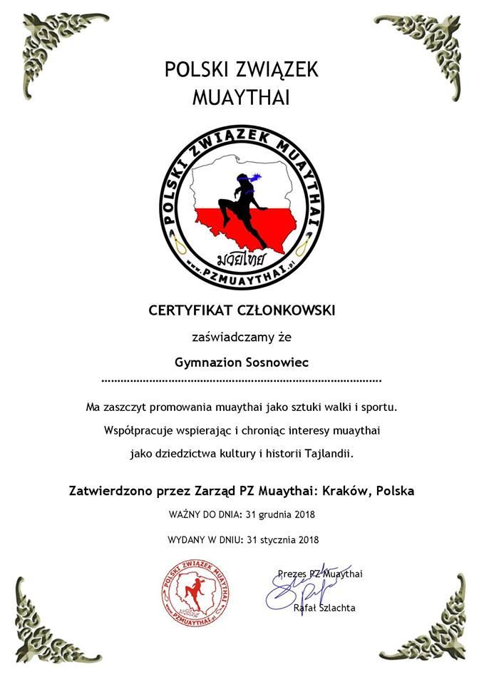 Polski Związek Muay Thai certyfikat